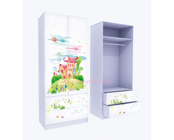 Шкаф с двумя ящиками верх для одежды Сказка 211x80x50