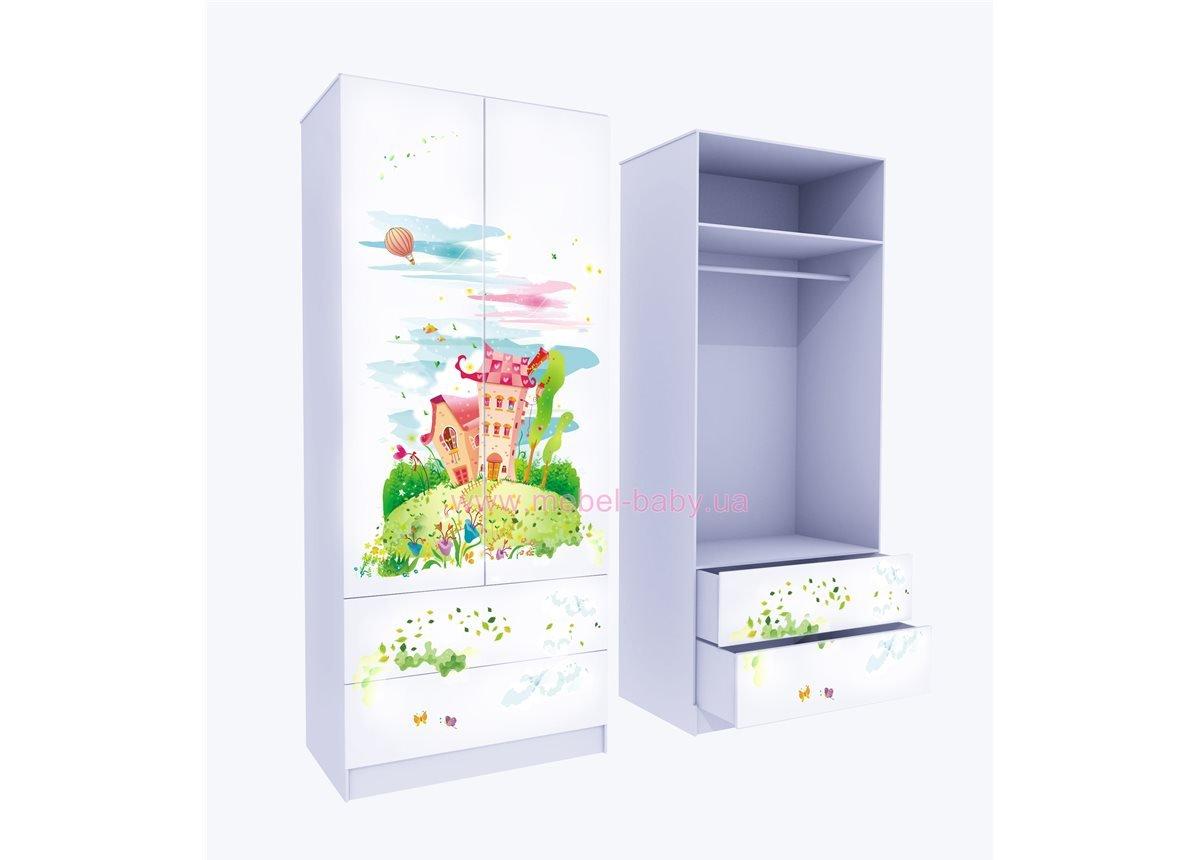 Шкаф с двумя ящиками верх для одежды Сказка 211x100x50