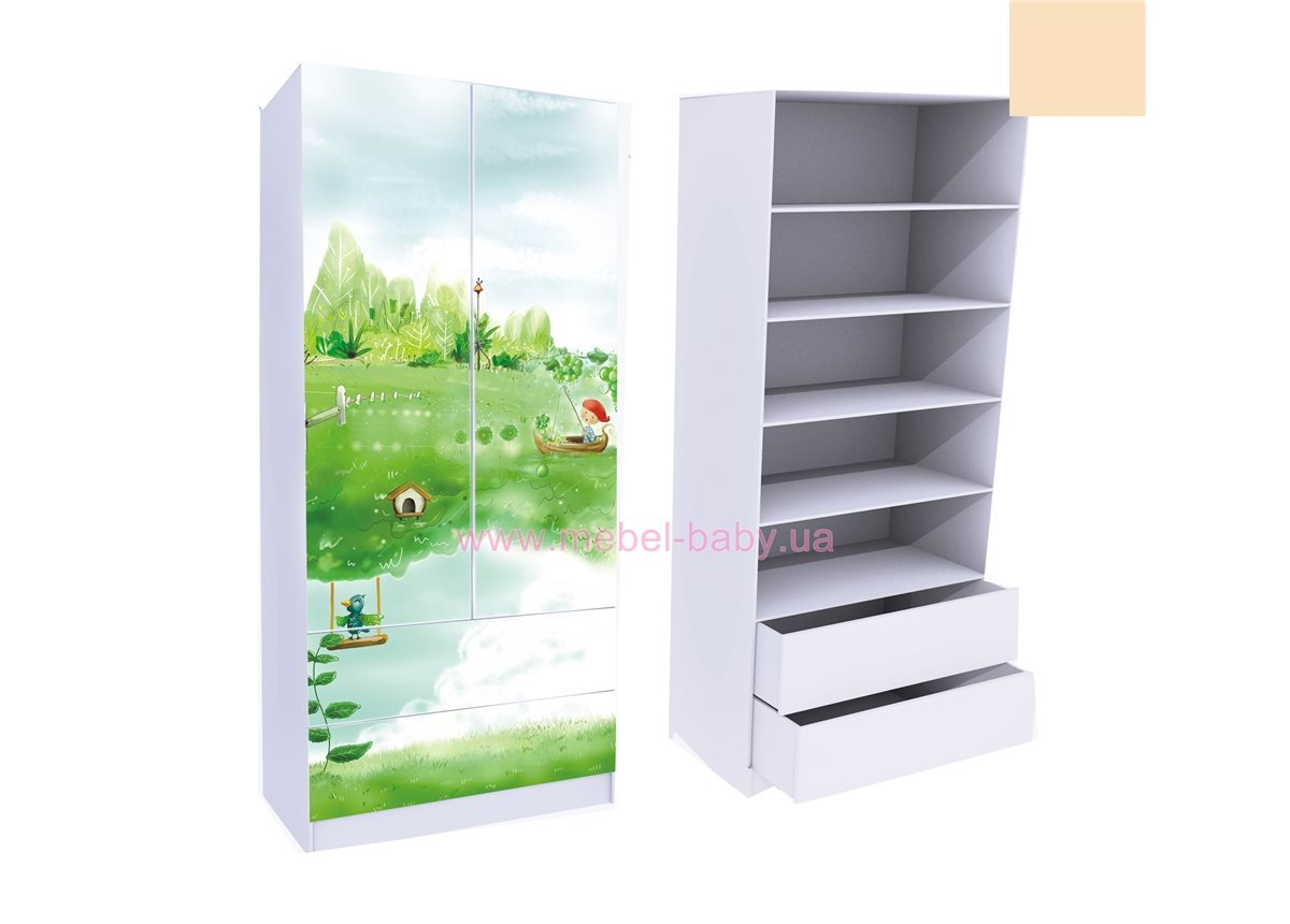 Шкаф с двумя ящиками (верх для белья) Нежность 211x100x50