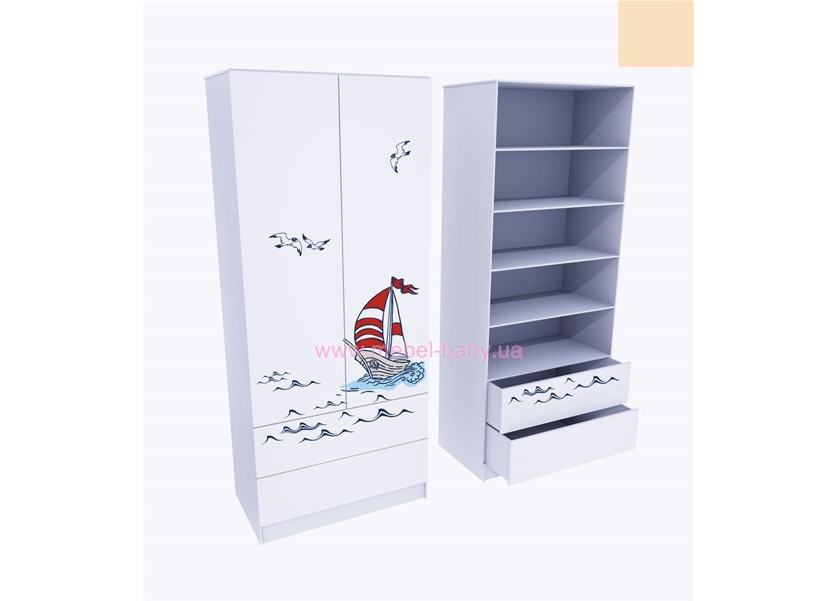 Шкаф с двумя ящиками (верх для белья) Корабль 211x100x50