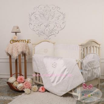 """Набор постельного белья """"Версаль"""" Swarovski(6 предметов) жемчужный"""