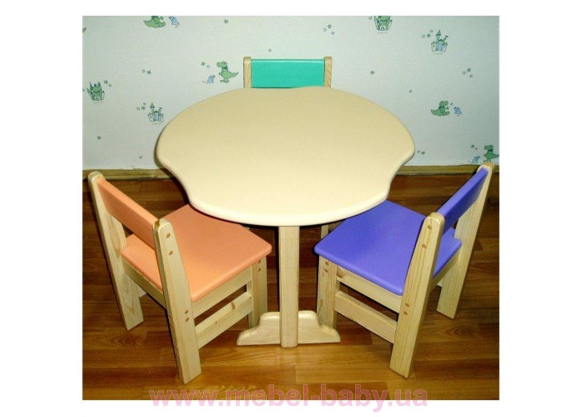 Детский стульчик цветной из сосны