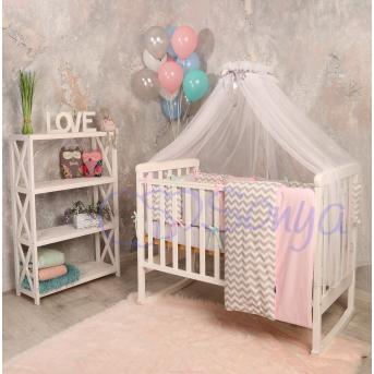 Комплект Бейби дизайн № 10 Серо-розовые зигзаги (7 предметов)