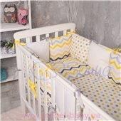 Комплект Бейби дизайн № 6 Зигзаги серо-желтые (6 предметов)