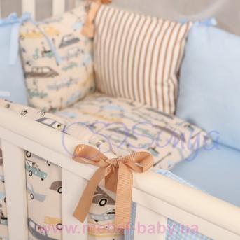 Защита Бэби дизайн премиум №11 Машинки 12 подушек + простыня
