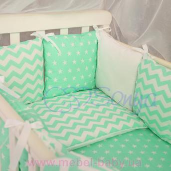 Сменный комплект постельно белья Бейби дизайн № 5 Звёзды мятные