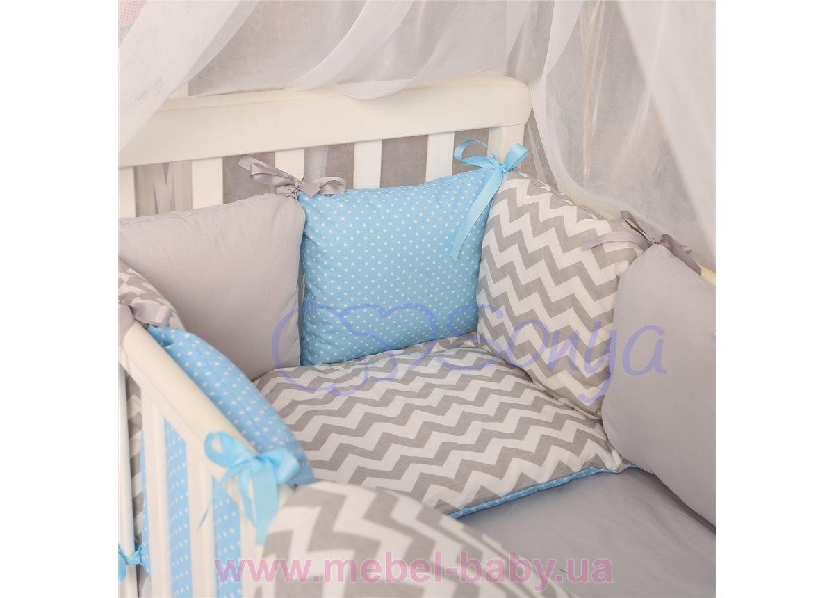 Сменный комплект постельно белья Бейби дизайн № 9 Серо-голубые зигзаги