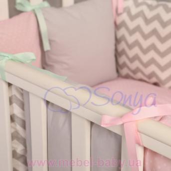 Сменный комплект постельно белья Бейби дизайн № 10 Серо-розовые зигзаги