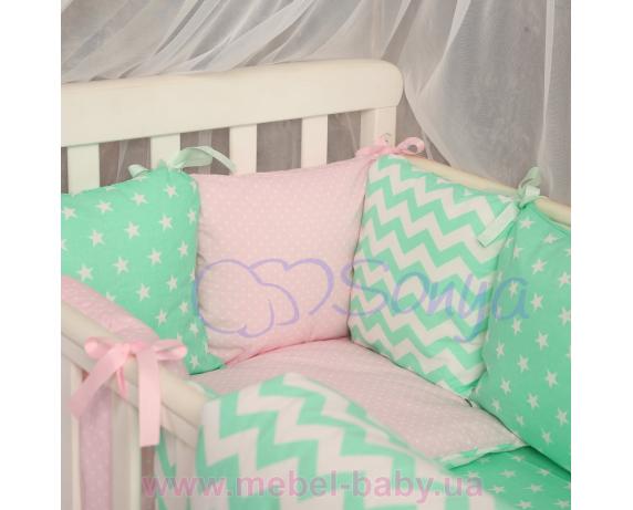 Сменный комплект постельного белья Бейби дизайн № 13 Розово-мятный зигзаг