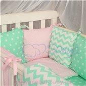Сменный комплект постельно белья Бейби дизайн № 13 Розово-мятный зигзаг