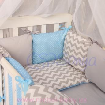 Комплект Бейби дизайн № 9 Серо-голубые зигзаги (6 предметов)