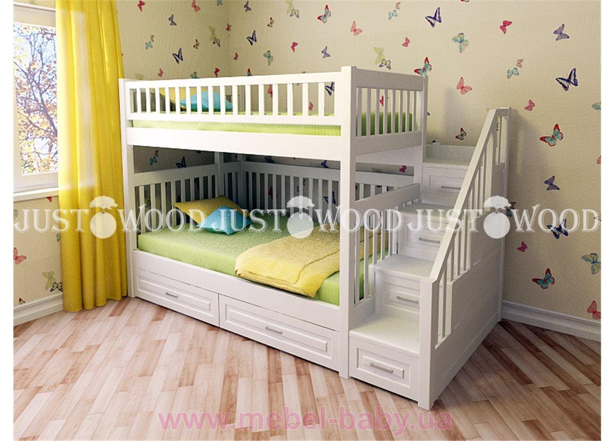 Кровать детская двухъярусная Простоквашино с платформой