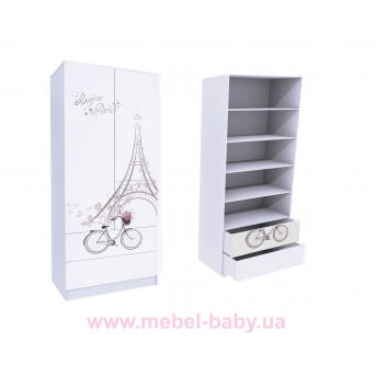 Шкаф с двумя ящиками (верх для белья) Париж MebelKon 50x80x211