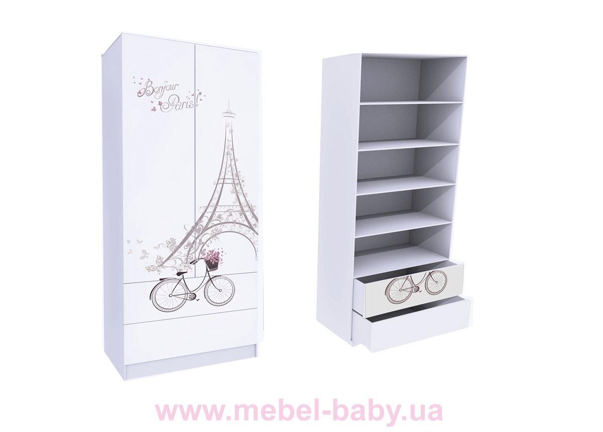 Шкаф с двумя ящиками (верх для белья) Париж MebelKon 50x90x211