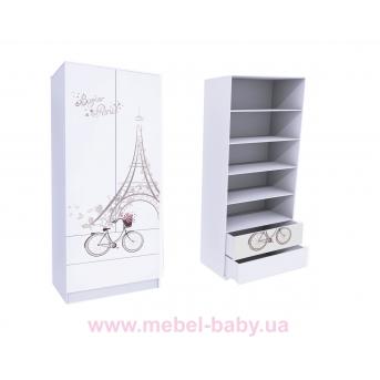 Шкаф с двумя ящиками (верх для белья) Париж MebelKon 50x100x211