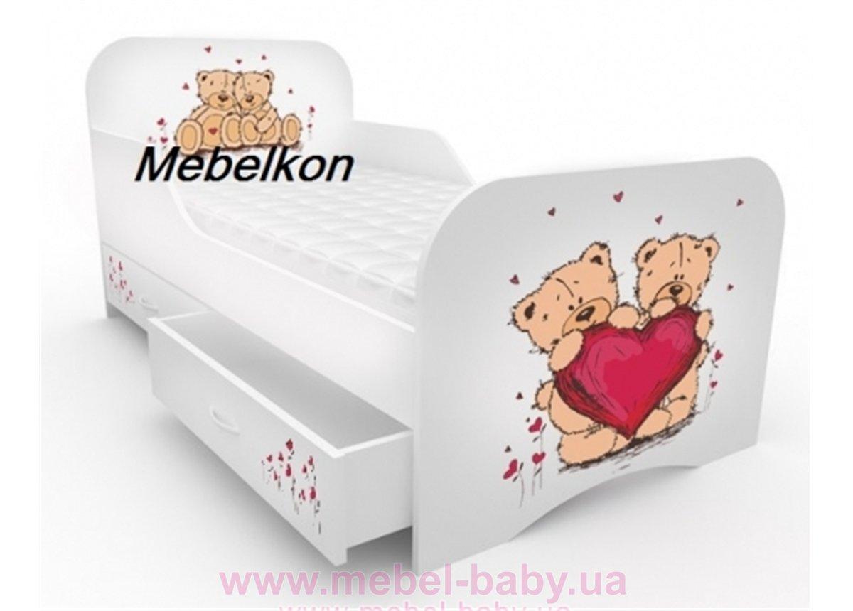 Кроватка стандарт с цельным бортиком 80x160 Мишки