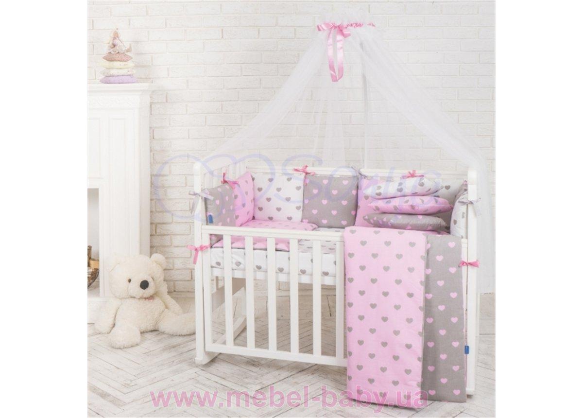 Балдахин Baby Design сердца розовый