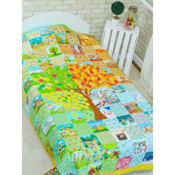 Эко покрывало-одеяло с конопляным наполнителем «Времена года»