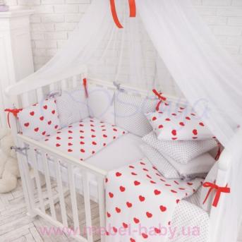 Защита Бэби дизайн №16 Сердца красные 12 подушек + простыня