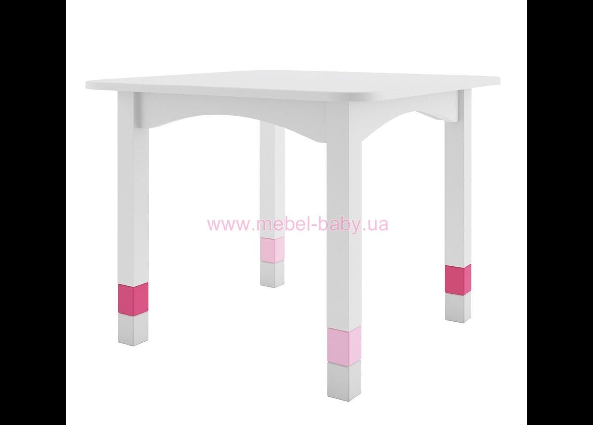 285_Стол 67 белый с розовыми вставками