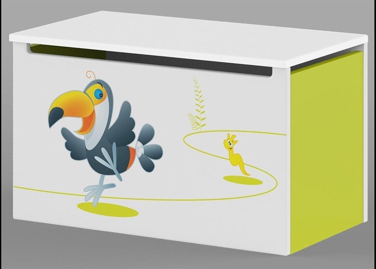 17_Ящик для игрушек Meblik Happy Animals green
