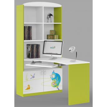 83_Письменный стол-стеллаж 90 Левый Meblik Happy Animals green
