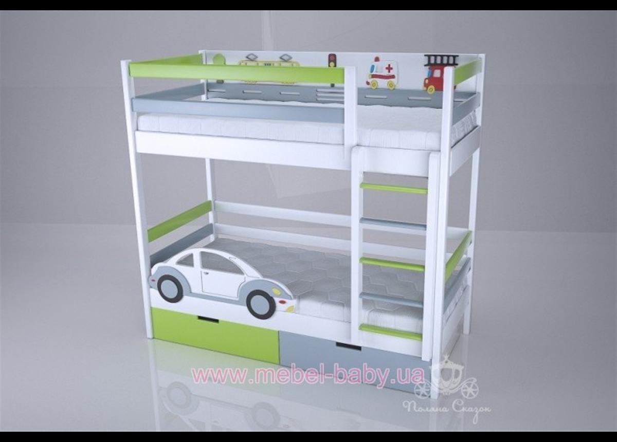Двухъярусная кровать 1300 Автомобильчик (white) Поляна сказок 80х180 Дерево