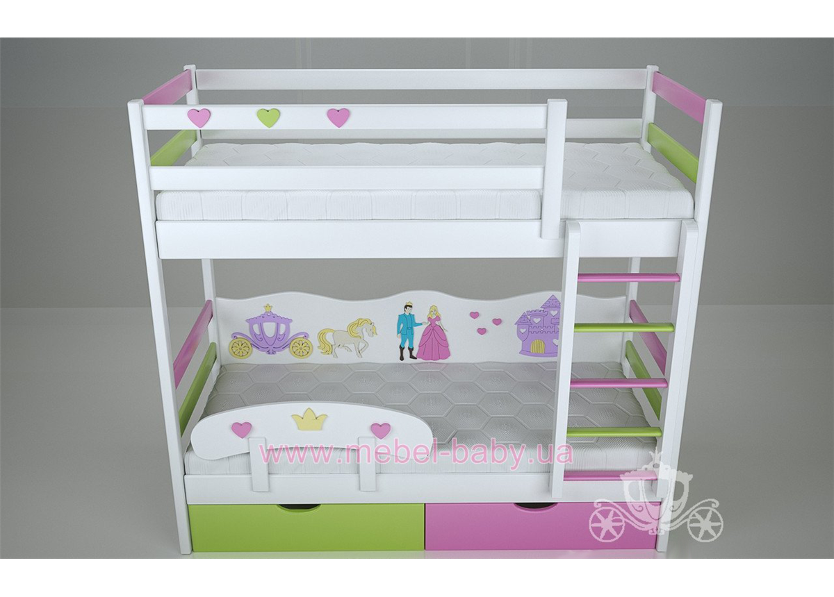 Двухъярусная кровать 1300 Принцесса (white) Поляна сказок 80х180 Дерево
