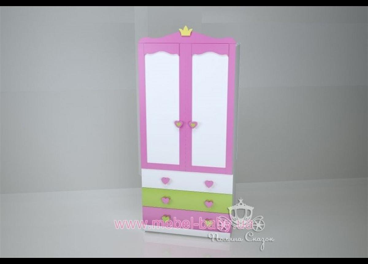 Шкаф двухстворчатый с ящиками Принцесса