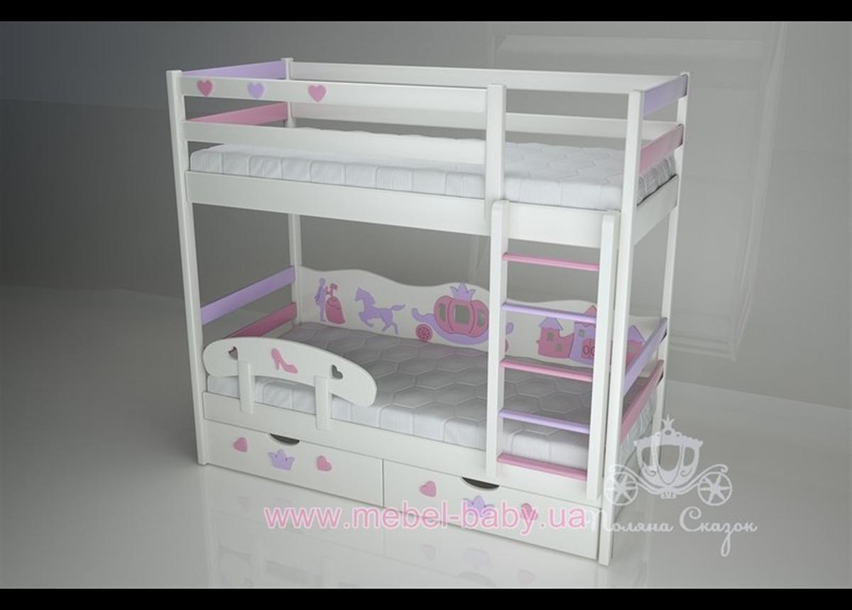 Двухъярусная кровать 1300 Золушка (Pink/cream) Поляна сказок 80х180 Дерево
