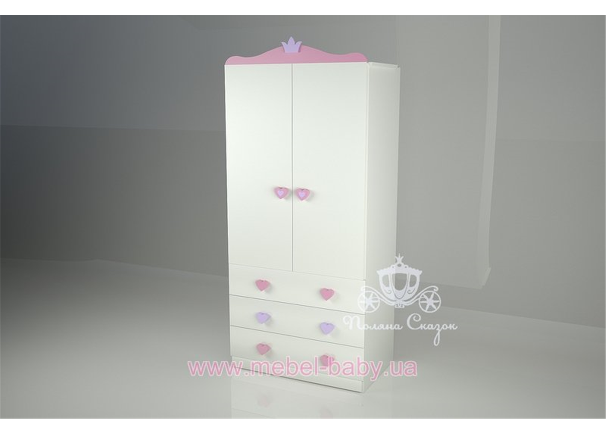 Шкаф двухстворчатый с ящиками Золушка/Pink