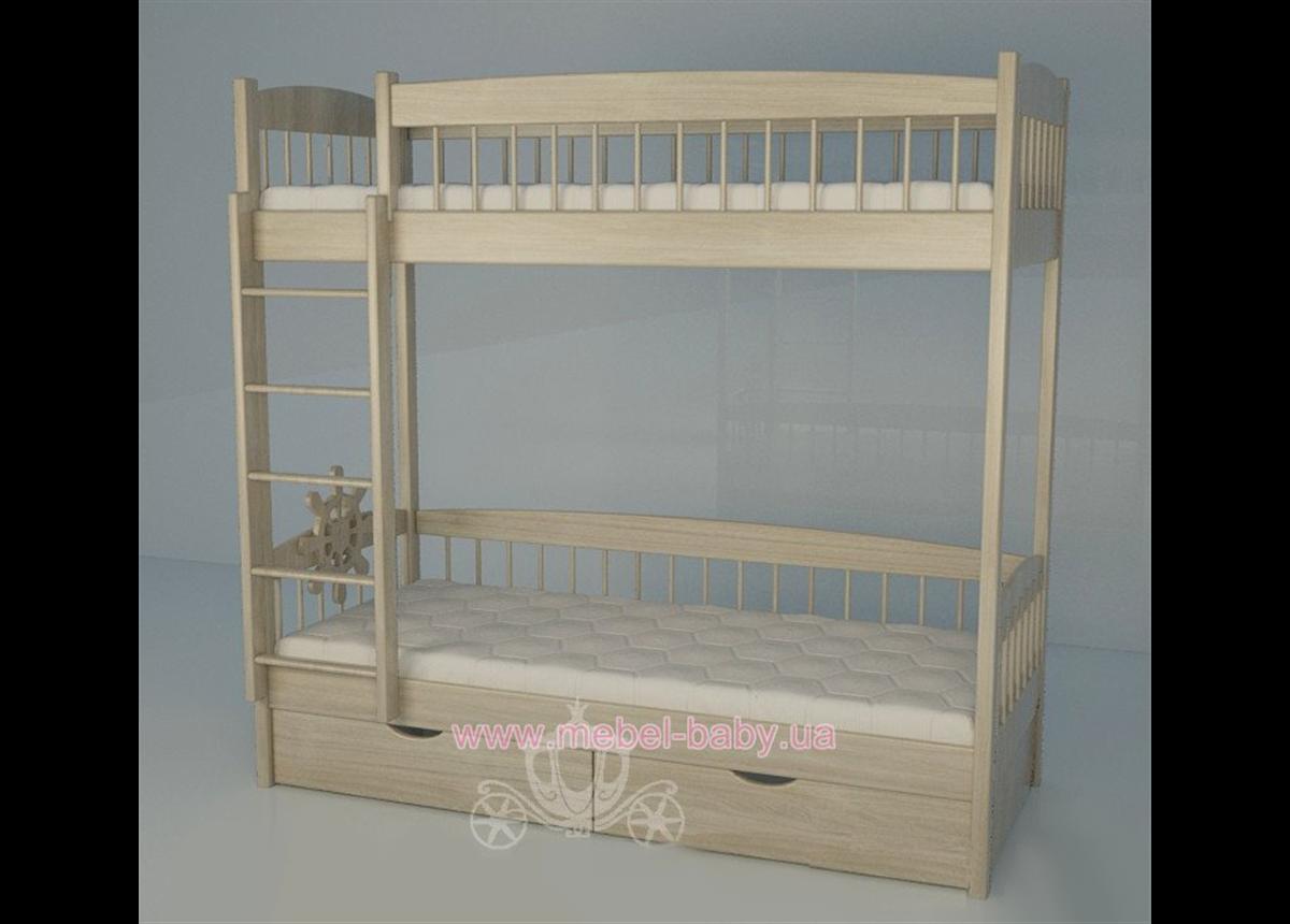 Двухъярусная кровать 2200 Кантри Natural Поляна сказок 80х180 Ясень Дерево