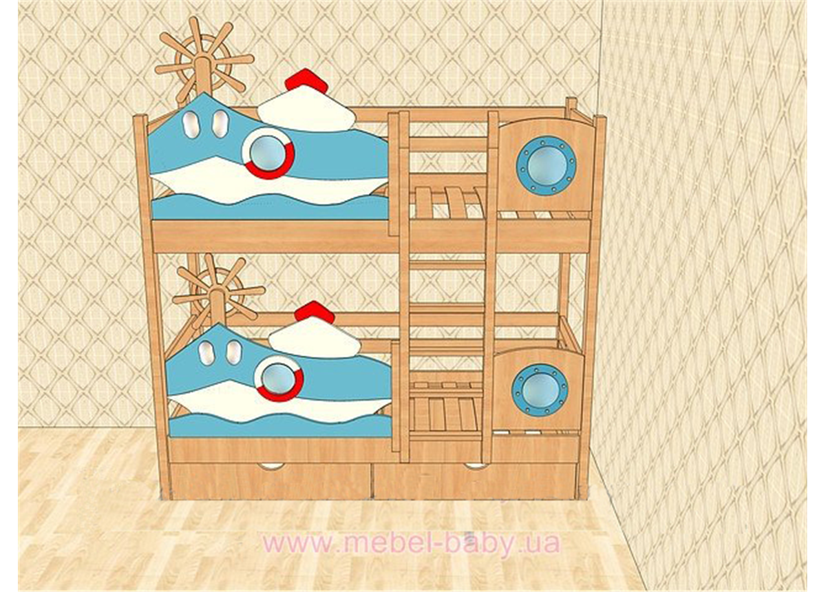 Двухъярусная кровать 1300 Катерок (white) Поляна сказок 80х180 Дерево