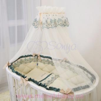 Набор постельного белья Ricci (7 предметов) изумрудный Маленькая Соня