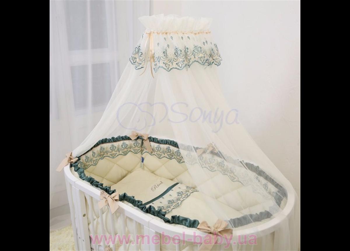 Набор постельного белья Ricci (6 предметов) изумрудный Маленькая Соня