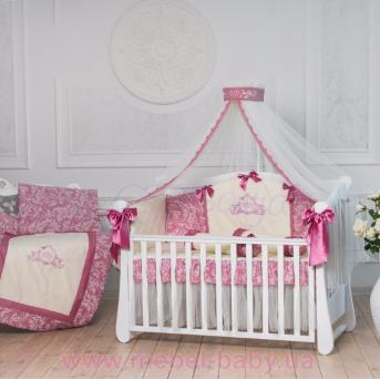 Набор постельного белья Mon belle L'collection (7 предметов) брусничный Маленькая Соня