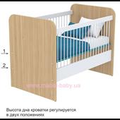 Не качающаяся кроватка для новорожденных Акварели кв-50  Бирюзовые Briz Коричневый 60х120