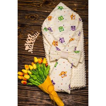 Конверт-одеяло плюш+бязь Осень Совы разноцветные маленькие 7-01 Добрый Сон