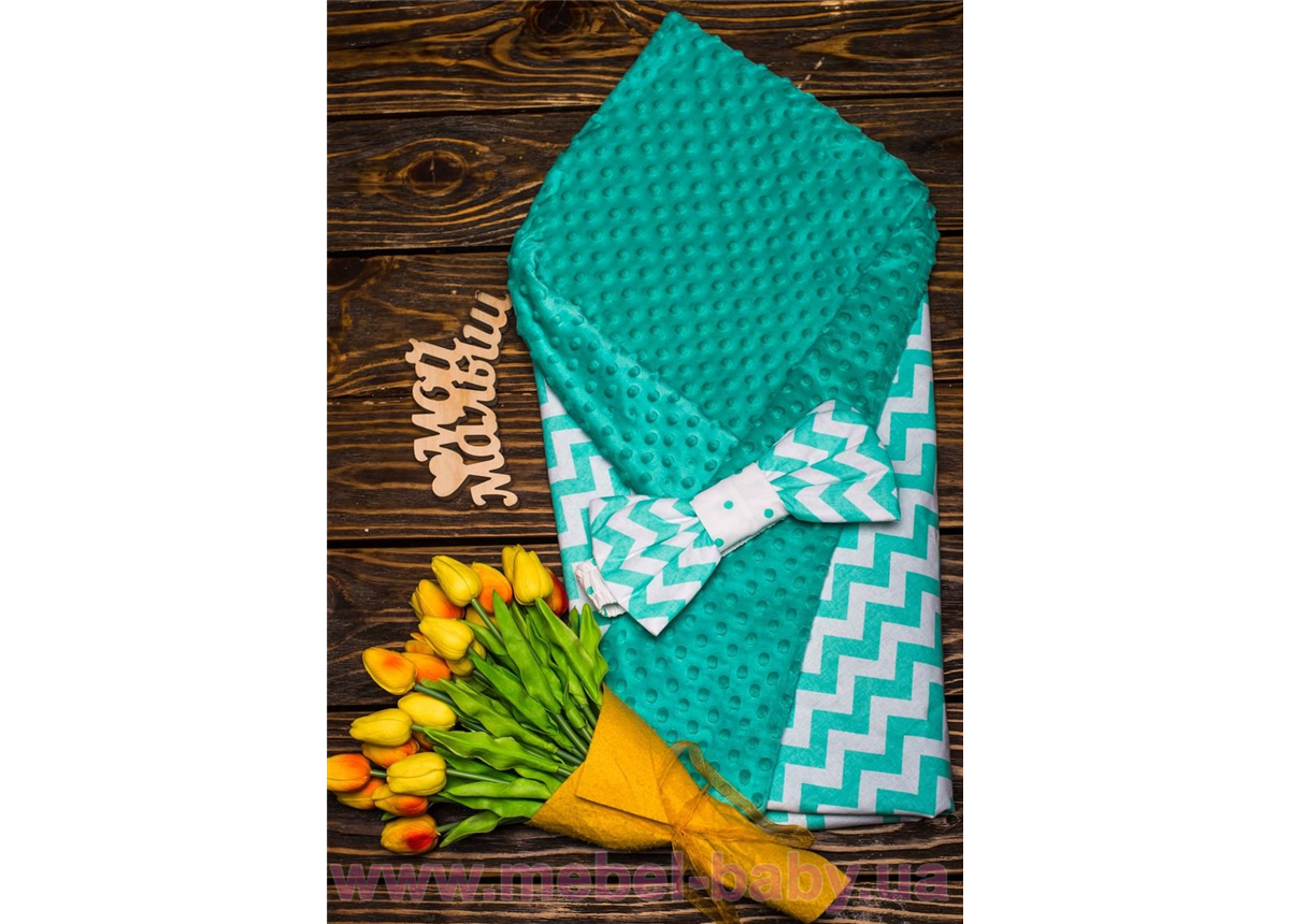 Конверт-одеяло плюш+бязь Осень зигзаг мята 7-01 Добрый Сон