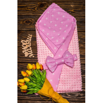 Конверт-одеяло плюш+бязь Осень Звезда на розовом 7-01 Добрый Сон