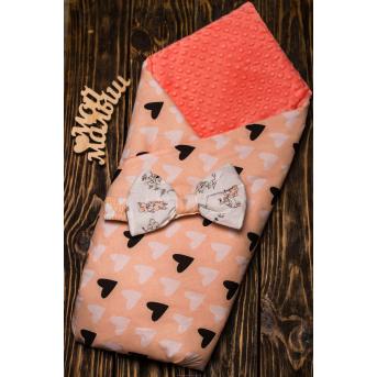 Конверт-одеяло плюш+бязь Осень Черные сердца на пудре 7-01 Добрый Сон