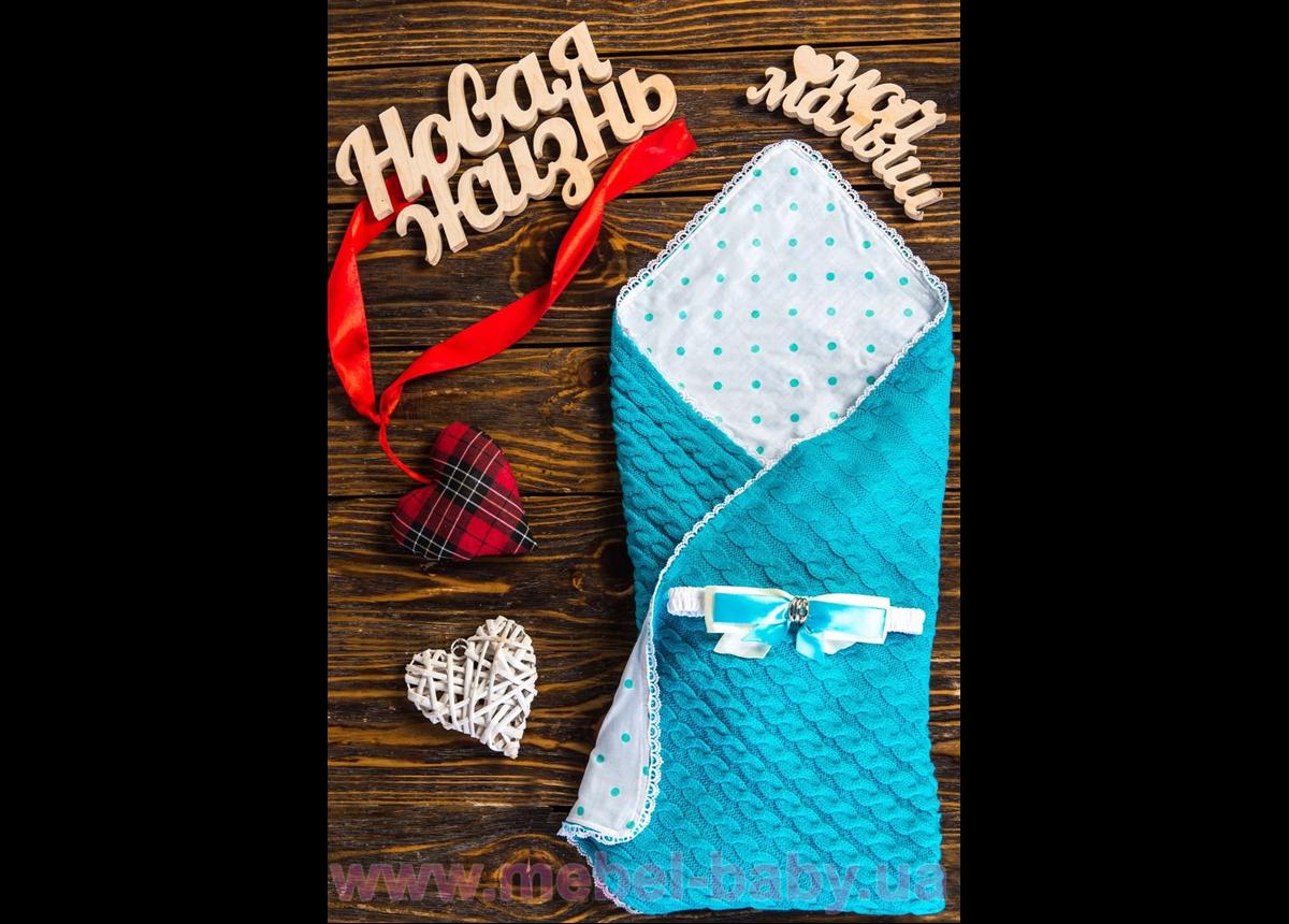 Конверт-одеяло вязка+бязь Горох на белом 8-01 Добрый Сон