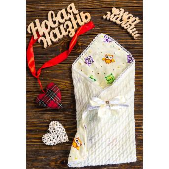 Конверт-одеяло вязка+бязь Совы разноцветные маленькие 8-01 Добрый Сон