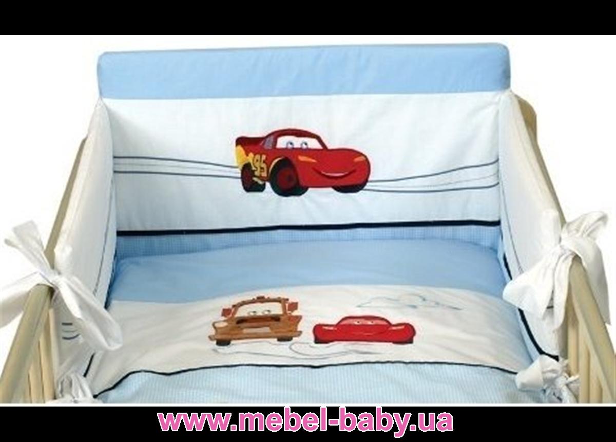 910  Постельный набор кроватки для новорожденного Меблик Тачки