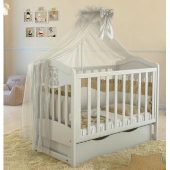 Кроватка детская LUX2 два малыша Angelo 1200x600 белый