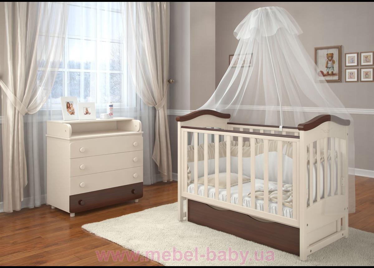 Кроватка детская LUX4 накладка Angelo 1200x600 крем орех