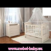 Кроватка детская LUX4 накладка Angelo 1200x600 белый
