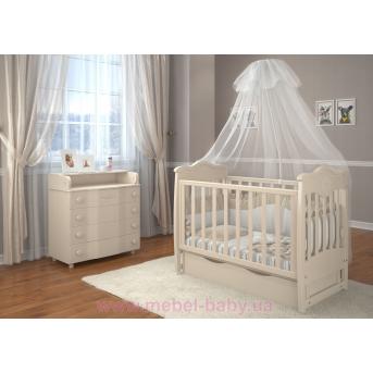 Кроватка детская LUX5 мишка стразы  Angelo 1200x600 крем