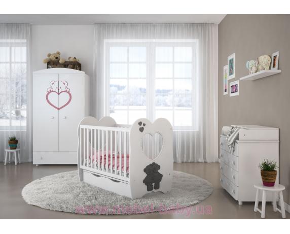 Кроватка детская LUX3 МДФ оргсекло Angelo 1200x600 белый