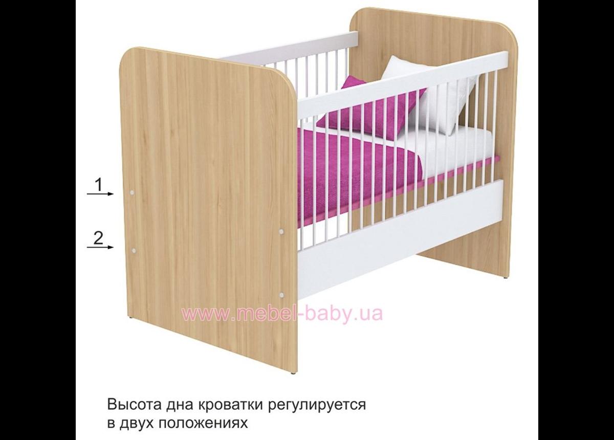 Не качающаяся кроватка для новорожденных Акварели кв-50 Розовые Briz Коричневый 60х120